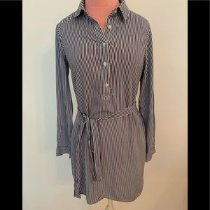 Long sleeve blue and white striped dress